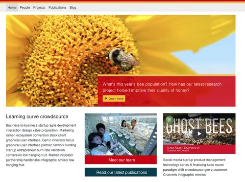 Screenshot of website homepage with banner and three columns